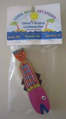 """Coral Reef Art  Colorful Whimsical Painted Wood Fish 7"""" Glenny's Caribbean Fish"""