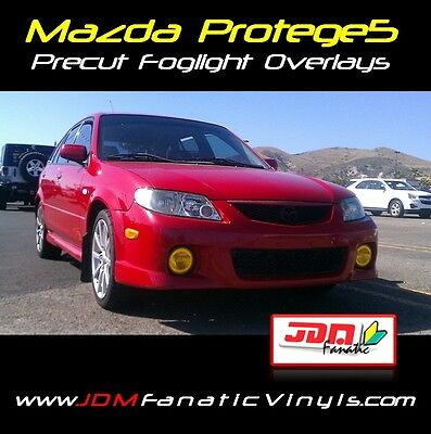 02-03 Mazda Protege Fog light Yellow Overlays TINT JDM Sport 5 EDM HID Smoke Kit