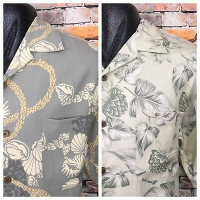 Lot of 2 Tommy Bahama Silk Hawaiian Floral Hibiscus S/S Button Up Mens Large