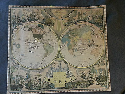 The New Map of the World 1928 Art Deco Map by Edward Everett Henry To Restore