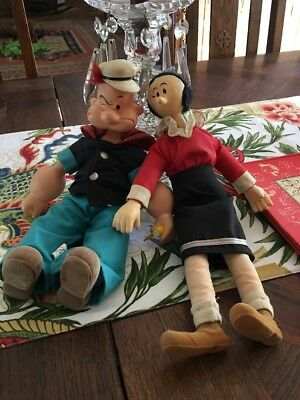 Rare Vintage Popeye & Olive Oyl Dolls Vinyl With Fabric Clothes & Real Hair