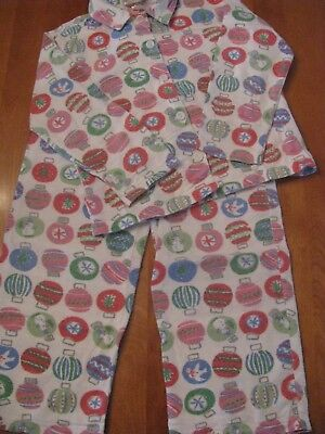 Garnet Hill Kids Girls Boys Two Piece Flannel Pajamas Christmas Ornaments Size 6