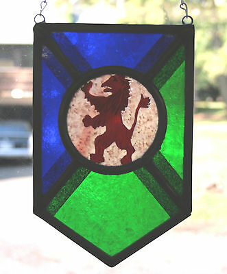 Stained Glass,Hand Painted,Kiln Fired, Lion Rampant Panel, 1300 B