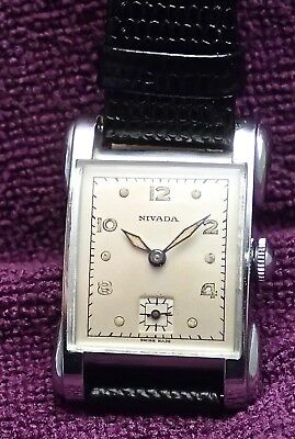NIVADA ART DECO New Old Stock VINTAGE GENTS Working WRISTWATCH circa1930`s /40`s