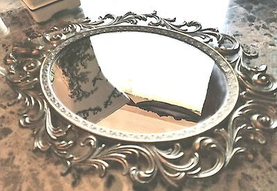 Beautiful, High Quality, Antique, Brass Oval Mirror, Made in Italy, heavy, 13.5""