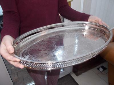 Vintage Large Oval Silver Plate Champagne Serving Tray On Bun Feet