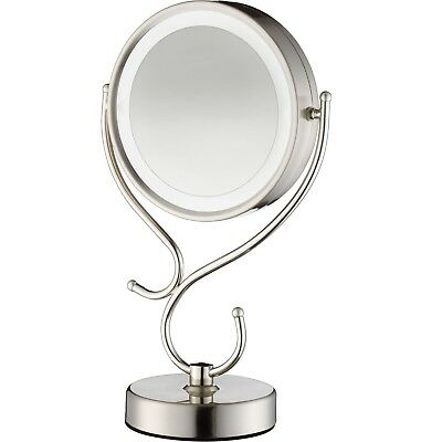 Conair Round Shaped LED Double Sided Lighted MakeUp Mirror w/ 3-Way Touch Contro