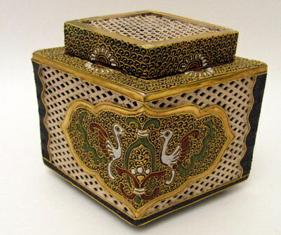 Rare Hand Painted Antique Satsuma Cricket Box Meiji Period 1868-1912