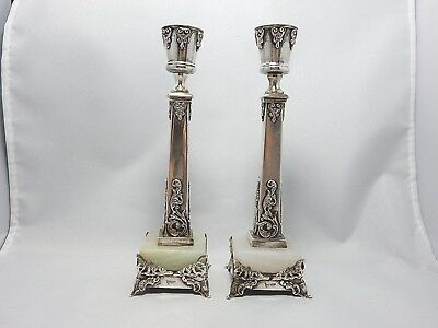 Very unusual 900 silver and marble candlesticks! MUST SEE!