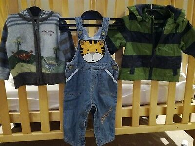 Boys John lewis rain jacket, Monsoon cardigan, early days dangarees 3-6 months