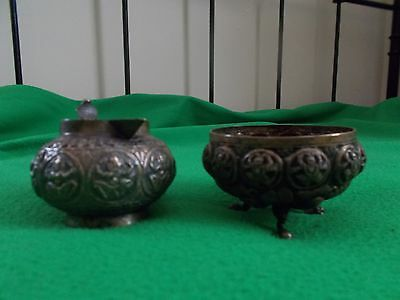 Antique vintage creamer and sugar pot possibly India and very old