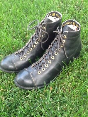 SWEET Early Antique ALL Black Leather OLD Football Cleats Vintage Metal Tips 10E