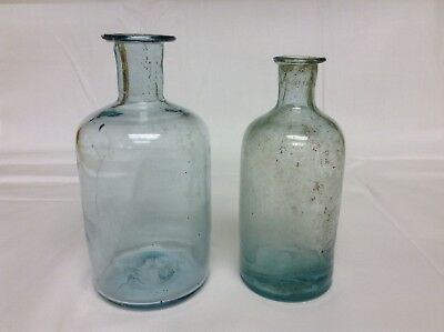 Antique medicine bottles with sharp open pontil scars