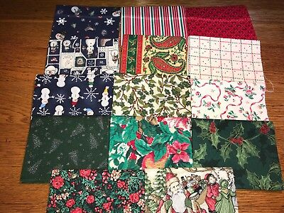 Lot of 14 Christmas Holiday Fat Quarters Cotton Quilt Fabric 3.5 Yd FREE SHIP #2