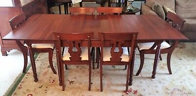 Antique Consider Willett Furniture Rope Motif Drop Leaf Dining Table, 6 Chairs