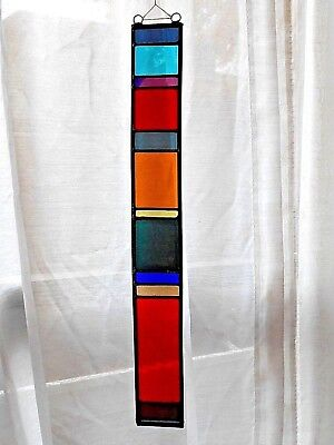 "17.5"" Stained Glass Panel Hanging Sun Catcher - 17 Vintage Blenko Colors Used"
