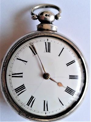 A large heavy very early Victorian silver pair-cased verge pocketwatch c1838