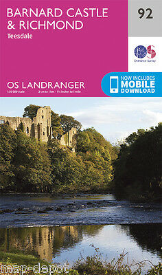 BARNARD CASTLE & RICHMOND LANDRANGER MAP 92 - Ordnance Survey - OS - NEW 2016