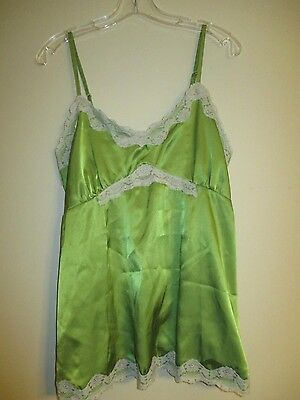 Announcements Women's Maternity Camisole Size Medium Bright Green Beige Lace