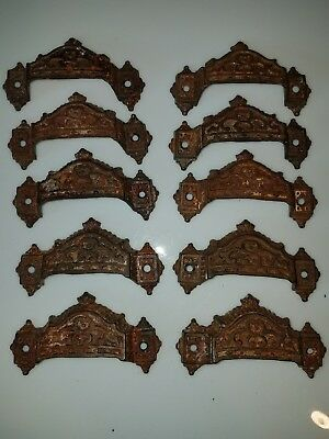 1871 PARKER & WHIPPLE Cast Iron Victorian Eastlake Drawer Pulls Set of 10 Handle