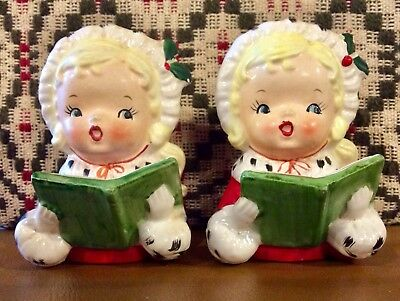 Vintage Napco 1957 Pair Christmas Holly Girls Head Vase Planter