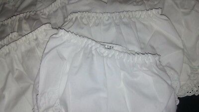 NEW White Lace Edged Baby Diaper Cover Bloomers, Elastic Waist, 12-18 Months