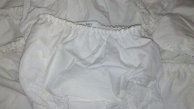NEW White Lace Edged Baby Diaper Cover Bloomers, Elastic Waist, 18-24 Months