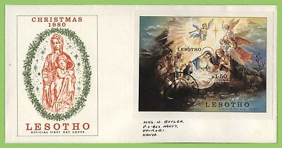 Lesotho 1980 Christmas miniature sheet on First Day Cover