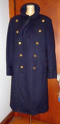 Vintage 1960S MENS LOWELL MA POLICE BLUE WOOL Double Breasted OVERCOAT