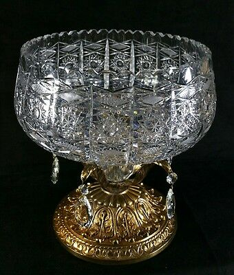 "Lg ABP Cut Glass Centerpiece Bowl Brass Stand Prisms 10.25""Diam x12.25""Tall EXC"