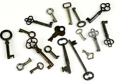 Antique Lot 18 Open Barrel Skeleton Keys Curio Cabinet Lock Vtg Furniture Key