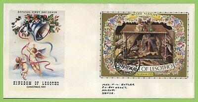 Lesotho 1981 Christmas miniature sheet on First Day Cover
