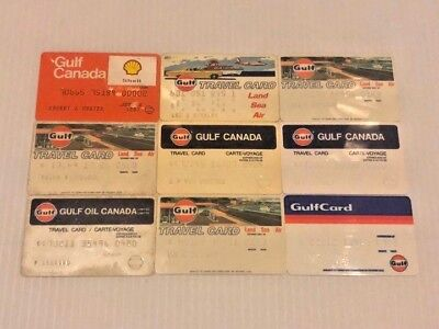Lot of 9 Vintage Gas Oil Credit Charge Cards Gulf & Gulf Canada V6