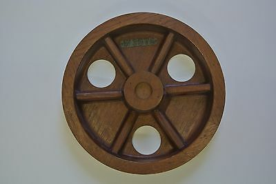 """Vintage Wooden Industrial Mold Pattern 11"""" Round Mahogany Mold #W3576"""