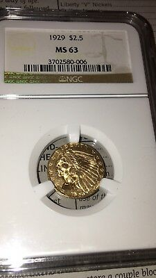 1929 $2.50 Gold Indian Head MS63 NGC PQ