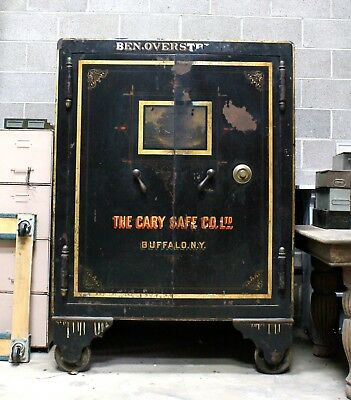 """Cary Safe Co. Antique Safe Double Door 65"""" Tall Highly Decorative Fair Condition"""