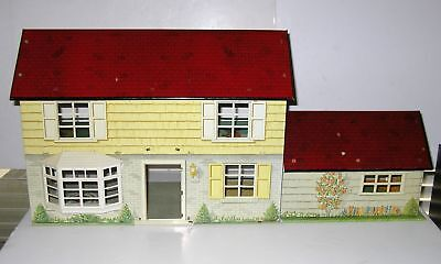 Vintage Marx Tin Metal Litho 2 Story Doll House Dollhouse Large Extra Rooms Den