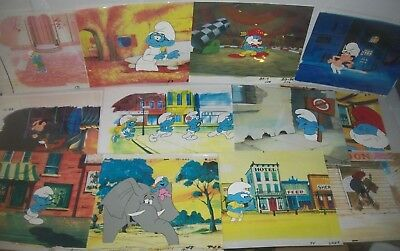 *THE SMURFS* 1980s collection of Animation Art Lot of 12 great production cels!!