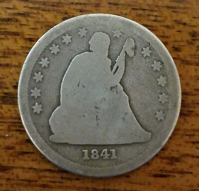 1841 United States 90% silver Seated Liberty quarter dollar