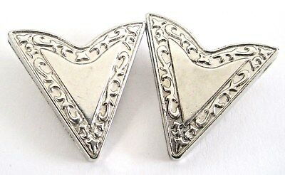 Vintage Silver Tone Metal Set of 2 Collar Tips