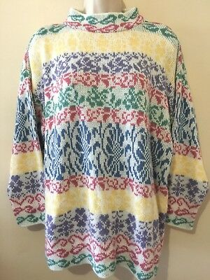 Vintage 80s 90s Pastel Sweater Fairy Kei Kawaii Striped Flowers Bows Size L