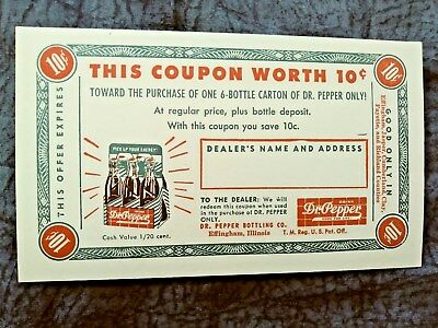 Nice Unused Dr Pepper 10 Cents Postcard 50`s