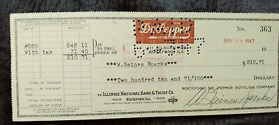 Mint Dr Pepper Good For Life Emploee Check Dated 1947