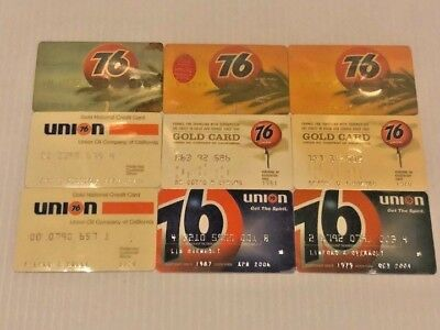 Lot of 9 Vintage Gas Oil Credit Charge Cards Union 76 V11