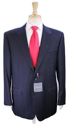 NWT New * CANALI * Solid Navy Blue 2-Btn Classic Fit Luxury Wool Suit 44S
