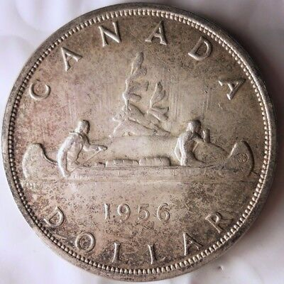 1956 CANADA DOLLAR - Less Common Date - Excellent Silver Crown Coin - Lot #N19