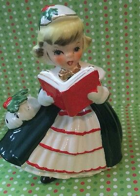 Vintage 1956 Napco Christmas Girl Ceramic Planter Made In Japan