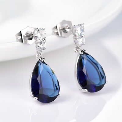 Alluring Pear Blue Sapphire Crystal White Gold Filled Dangle Earrings For Women