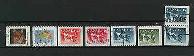 Canada Used Modern Coil Stamps Flags Pair Wildlife 90-2000sE086