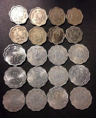 Old India Coin Lot - 10 PAISA - Older Types - Uncommon - 20 Coins - Lot #N19